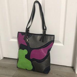 Tous Black Leather Tote Bag Green Purple Shoulder